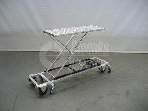 Transportwagen met rem aluminium 150 cm.